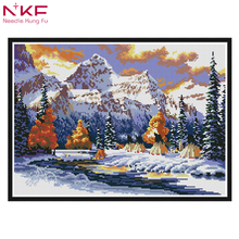 The snow of winter DIY Diamond Embroidery Flowers 5D Nature Scenery Picture Full Square Rhinestones Needlework Hobby Home Decor