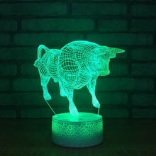 2018 New Bull 3d Lamp Colorful Remote Control Touch Crack Led  3d Light Fixtures Creative Gift Night Light