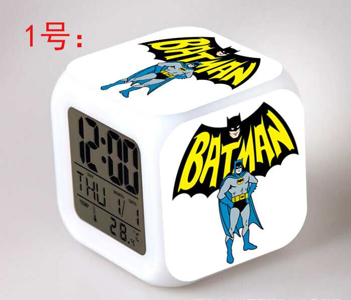 Hero Batman Kids LED 7 Color Changing Flash Digital Alarm Clocks Girls&Boy Bedroom Night Light Wake Up Clocks