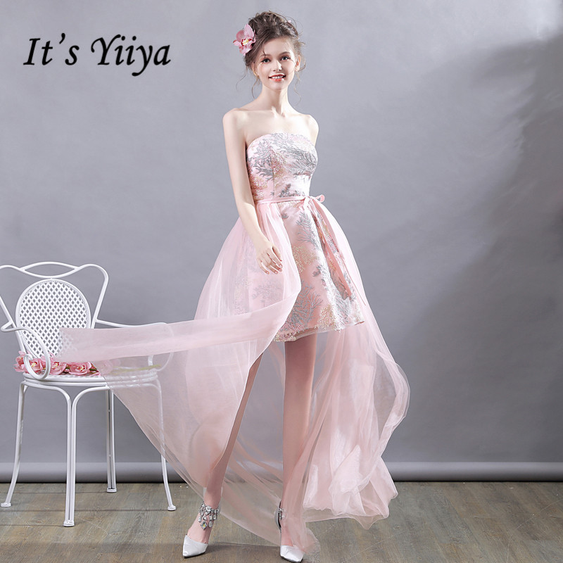 It's YiiYa   Prom     Dress   Embroidery Flowers Strapless High Low length Party   Dresses   Pink Floral Print Bow Lace Up Formal Gowns E184