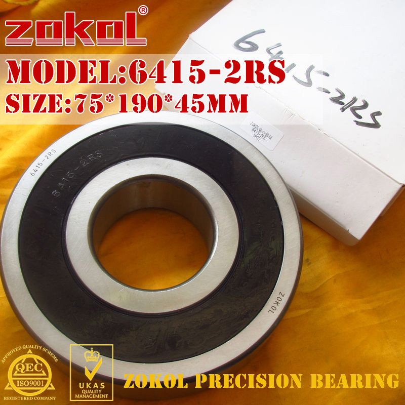 ZOKOL 6415-2RS bearing 6415 2RS 180415 Deep Groove ball bearing 75*190*45mm zokol bearing 6318 318 deep groove ball bearing 90 190 43mm