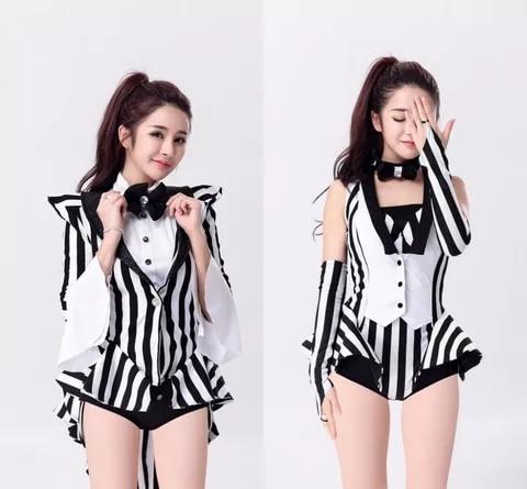New Fashion Star Costume Female Singer Ds Costume Dance Jazz Black And White Stripe Color Block Formal Dress Tuxedo Costumes