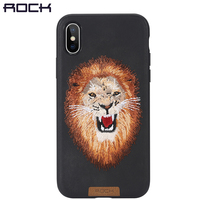 For IPhone X Case ROCK Slim Full Protective Beast Embroidery Phone Case For IPhoneX Back Cover
