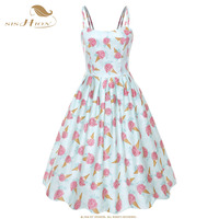 SISHION Women Ice Cream Print Summer Dress VD1105 Sexy Spaghetti Strap Swing Vintage Swing Retro Pin Up Dress