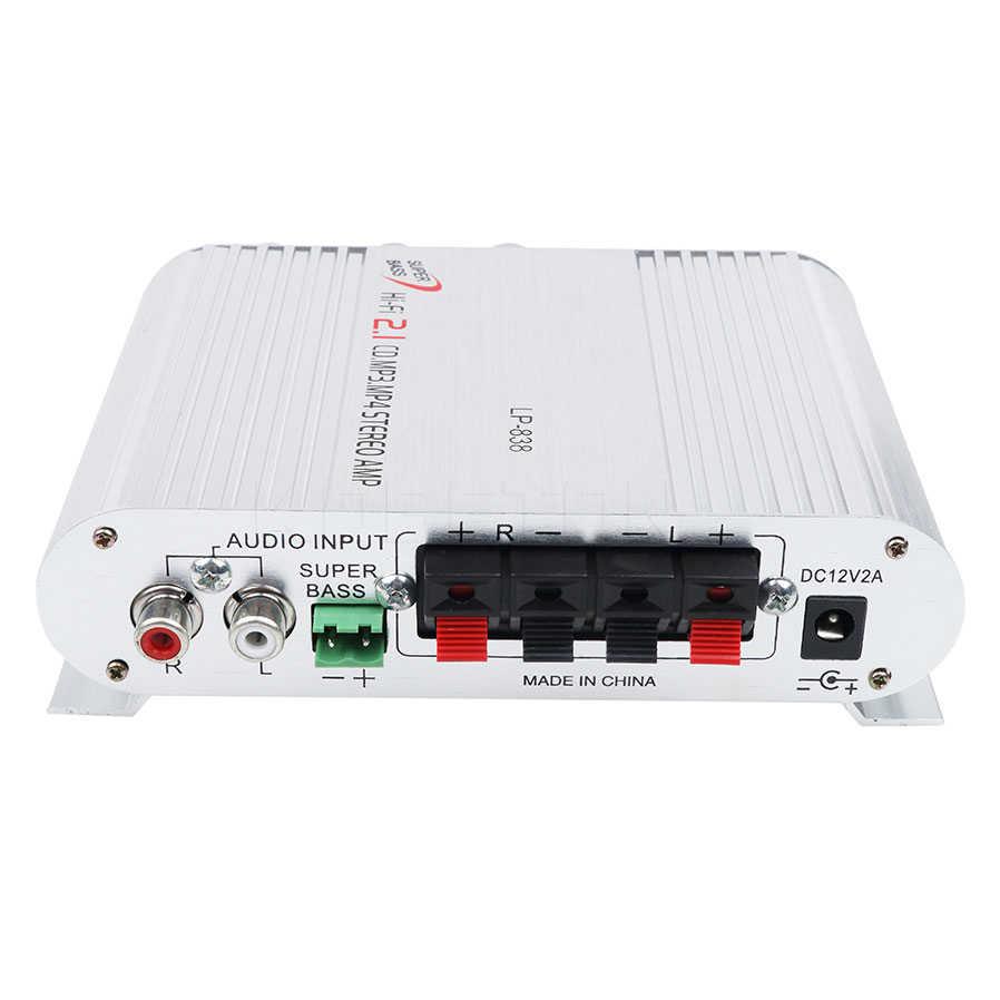 12 V авто усилитель 2,1 канальный аудиоусилитель стерео Бас Динамик Hi-Fi MP3 плеер для дома автомобильное радио музыка Boostrer