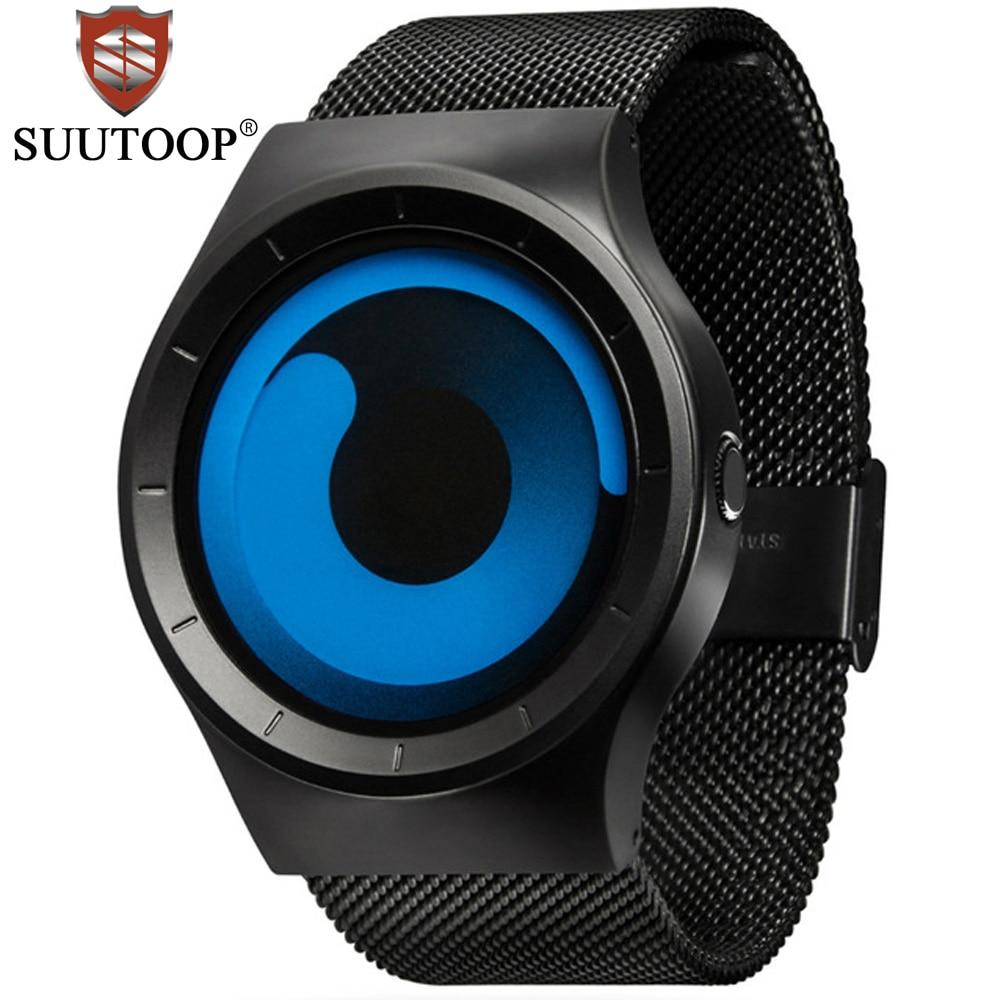 Brand Creative Rotation Men Waterproof Quartz Watches Stainless Steel Mesh Strap Suutoop Sport Wristwatch Relogio Masculino Men's Watches