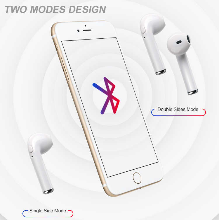 Набор головок Bluetooth наушники i7s TWS настоящие беспроводные вкладыши для Iphone huawei Xiaomi kulaklыk все смартфоны