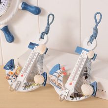 Creative Mediterranean style anchor hook thermometer wall decoration crafts wooden handmade