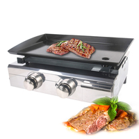 ITOP New Arrival Gas BBQ Grill 2 Burners Gas Griddle Plancha Stainless Steel Iron Body LPG Outdoor Grill Camping Courtyard Tools