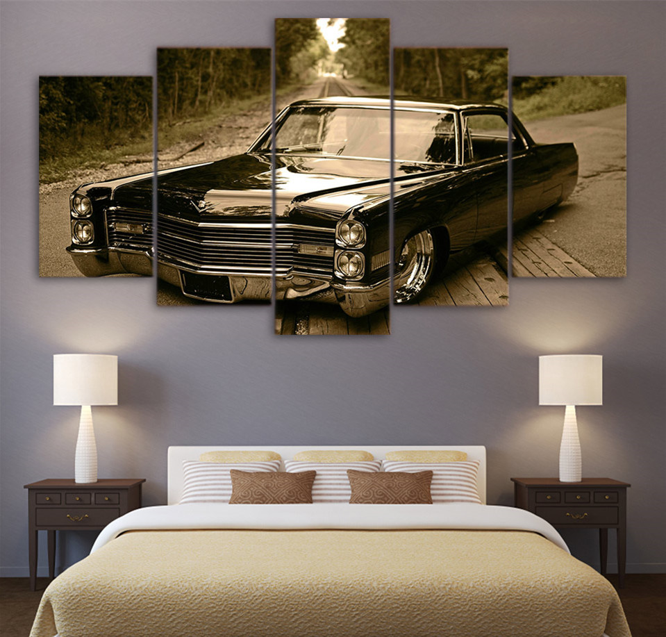 3 panel poster board designs - Modern Canvas Art Abstract Painting Bedroom Hd Printed Wall Art 5 Panel Pictures Retro Black Car