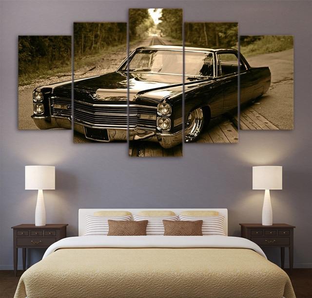 Moderne Leinwand Kunst Abstrakte Malerei Schlafzimmer HD Gedruckt Wand Kunst  5 Panel Bilder Retro Schwarz