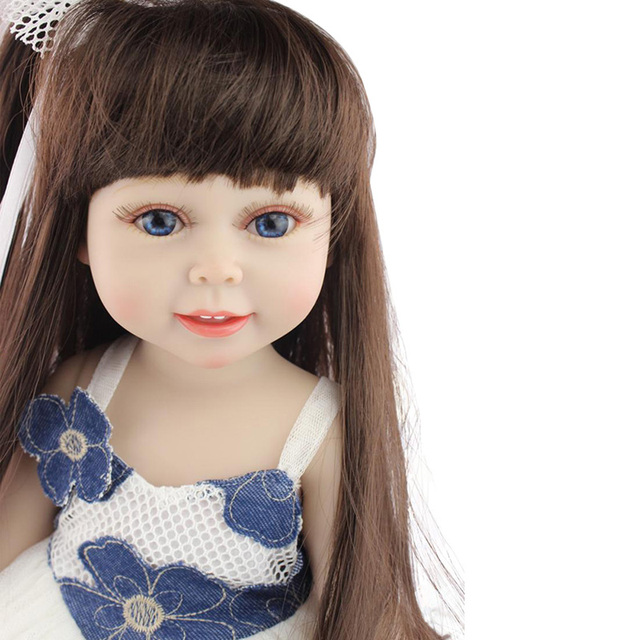 18'' American Baby Doll Handmade Soft Silicone Vinyl Reborn Dolls Realistic Toddler Doll Toys for Children Christmas Collection 2
