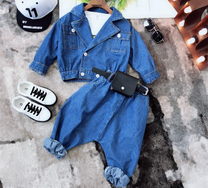 90-140cm Girls Boys clothing set boy girl cowboy trend product suit+pockets+Harem pants 2018 Spring fall Fashion CHildren Suits kimocat boy and girl high quality spring autumn children s cowboy suit version of the big boy cherry embroidery jeans two suits