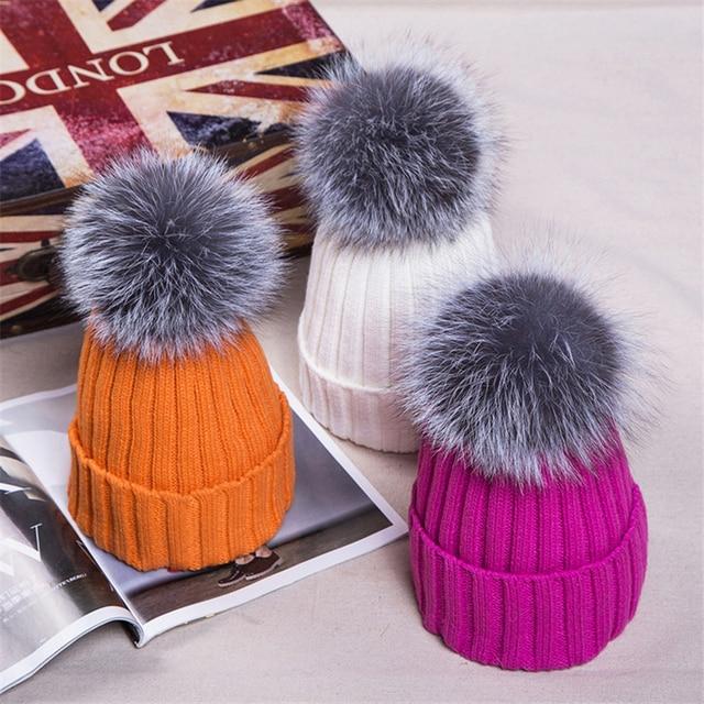 Women Winter Hats Thicken Warm 2016 HOT Beanies Thicken Knitted Cap Crochet Hat Fox Fur Hairball Ear Protect Casual Cap