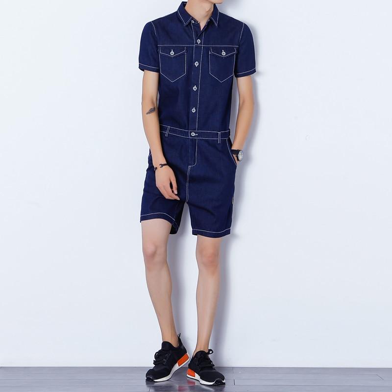 Slim Zipper Hommes Denim Jeans Casual Harem Noir Fit Nouveau bleu Mode Combinaisons Barboteuses Shorts Salopette xvAwxqYp