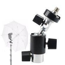1 шт. черный Универсальный 360 градусов Камера флэш Горячий башмак адаптер зонт держатель поворотный Осветительные стойки Кронштейн Тип c фотографии Асса