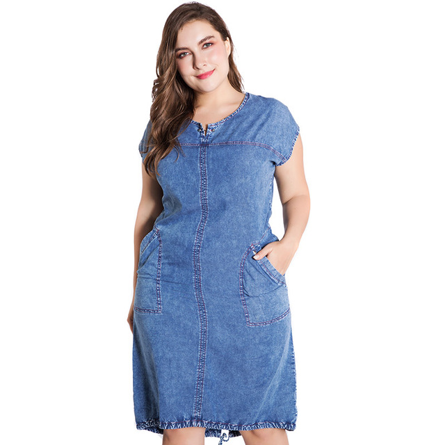 Summer ladies Plus Size denim dress for women clothes Round Neck Pockets elegant  4xl 5xl 6xl Large Size party Dress 2