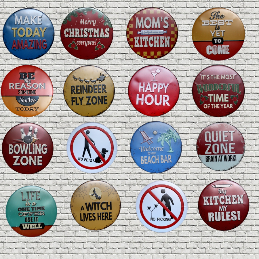 Christmas Decorations Metal Plate Round Irregular Tin Signs Wall Hotel Pub Coffee Home Art Decor 30CM U 24 in Plaques Signs from Home Garden