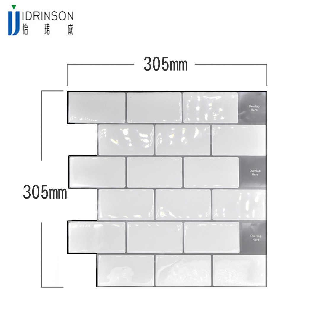 White large anti-tiles self-adhesive 3D wallpaper DIY kitchen bathroom decorative wall tiles white subway