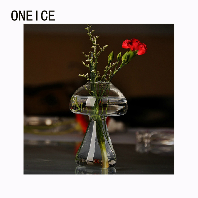 Oneice Mushrooms Vase Clear Glass Vase Hydroponic Home Decoration