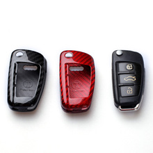 Dee carro de fibra carbono auto remoto chave caso capa fob titular escudo da pele para audi a6 tt a3 q3 a1 a4 q7 s3 s6 2016 2017 2018