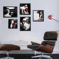 5 pièces/ensemble noir blanc rouge peintures à l'huile moderne toile peintures mur photos pour salon art affiche imprimer FG0022-1