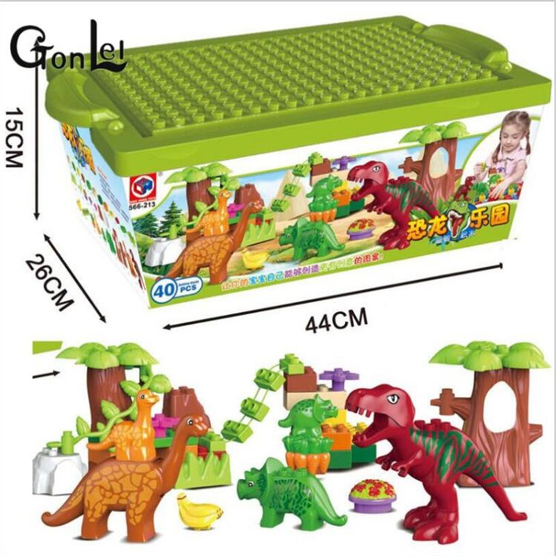 (GonLeI)40Pcs/Lot Dino Valley Building Blocks Sets Large particles Animal Jurassic Model toys World  Bricks Duploe
