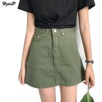 Hzirip 2017 Summer High Waisted Denim Skirt Women OL Elegant Solid Black Army Green Pink White