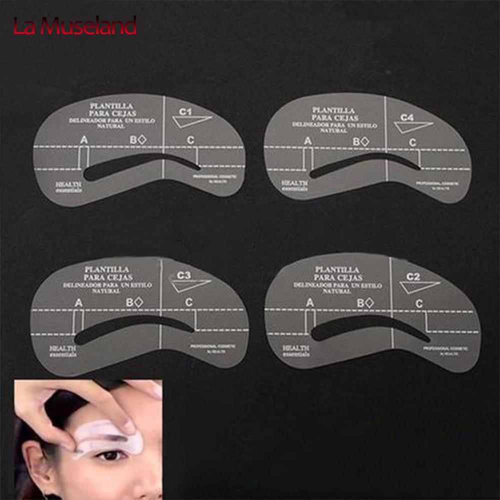 4 pçs/set estilos Grooming Kit Stencil maquiagem Shaping DIY Beauty sobrancelha modelo Stencils ferramentas acessórios