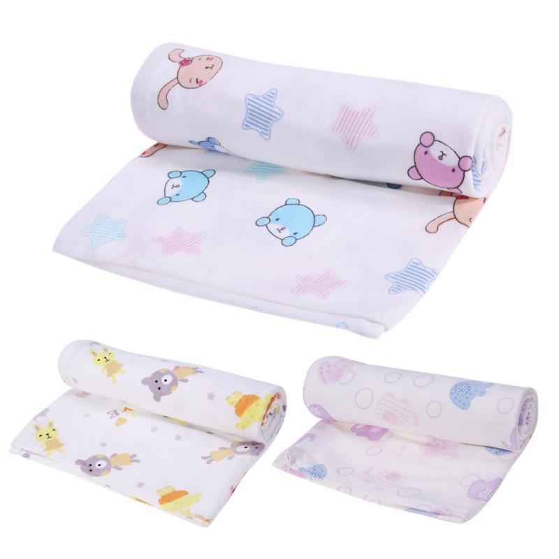 Cotton Newborn Baby Blanket Double Layer Gauze Floral Bath Towel Hold Wraps Cute Cartoon Printed Newborn Blanket