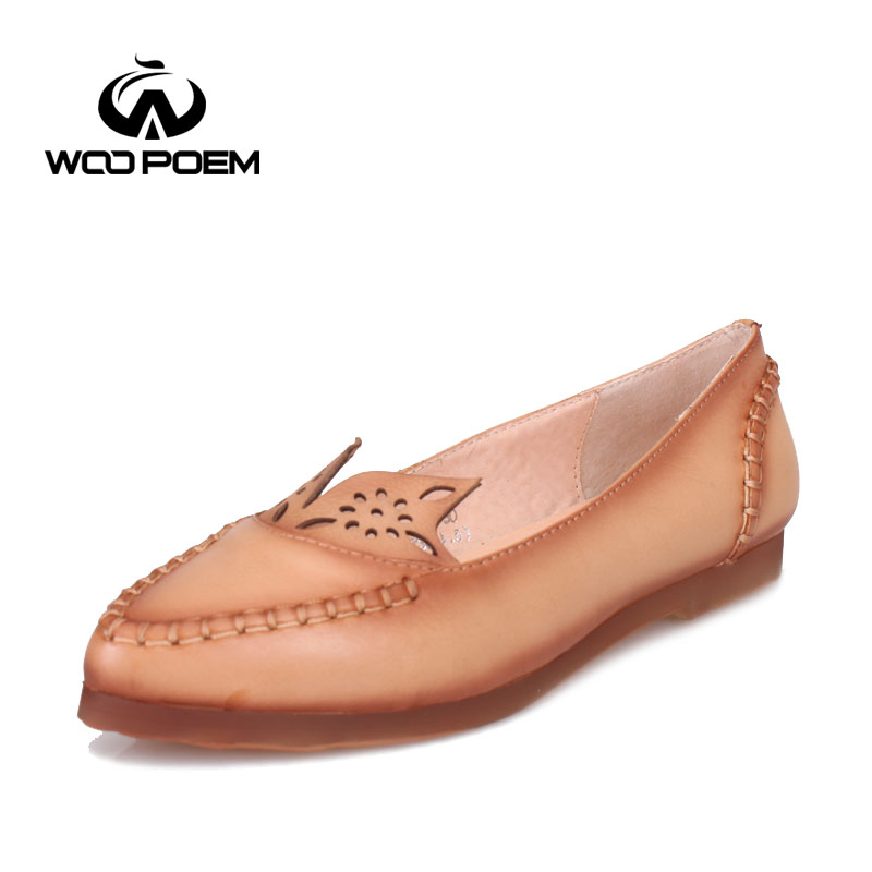 ФОТО WooPoem 2016 New Spring Autumn Shoes Women Cow Leather Loafers Low Heel Shallow Flats Breathable Lade Casual Shoes F88-30