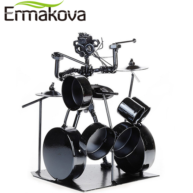 ERMAKOVA Metal Musician Drum Player Statue Drummer&Drum Set Sculpture Figurine Ornament Cafe Counter Office Book Shelf Decor