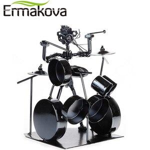 Image 1 - ERMAKOVA métal musicien tambour joueur Statue batteur et batterie ensemble Sculpture Figurine ornement café comptoir bureau livre étagère décor