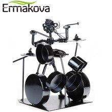 Ermakova metal músico tambor jogador estátua baterista & tambor conjunto escultura estatueta ornamento café contador escritório livro prateleira decoração
