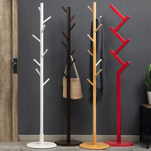 Wooden 8 Hooks Tree Style Coat Hat Rack Bag Clothes Garment Hanger Stands Hanging Scarves Hats Bags Clothes Shelf(China)