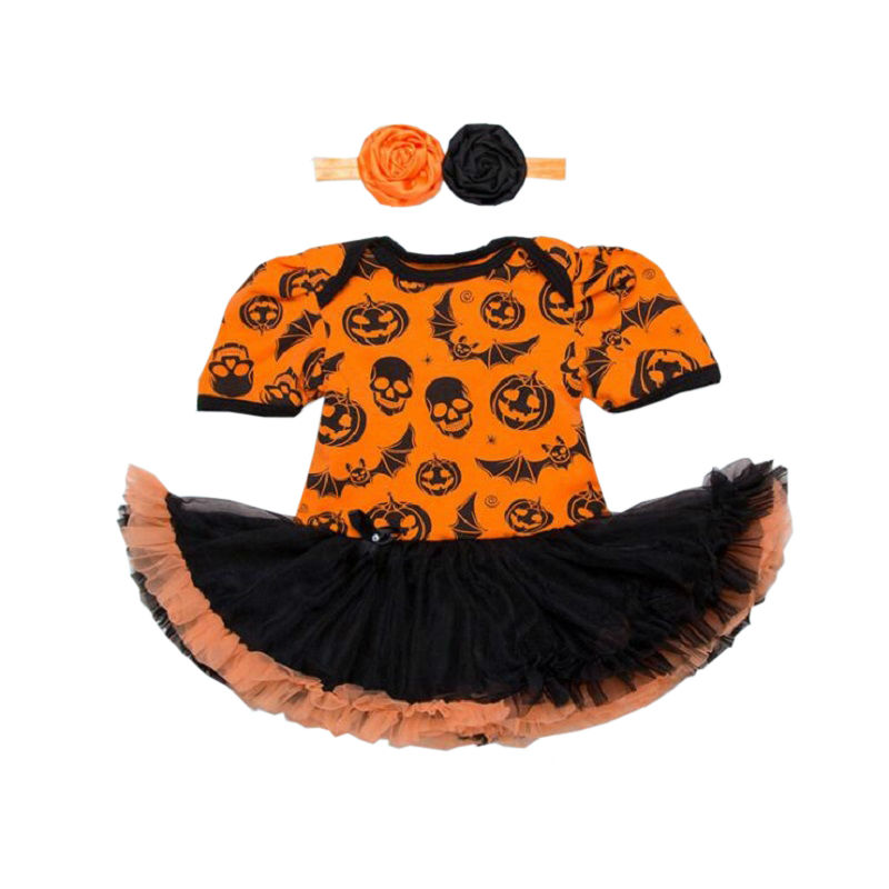 Halloween sets new baby sets newborn short sleeve romper dress Headband 2pcs set baby fashion Cartoon clothes bebes girl clothes