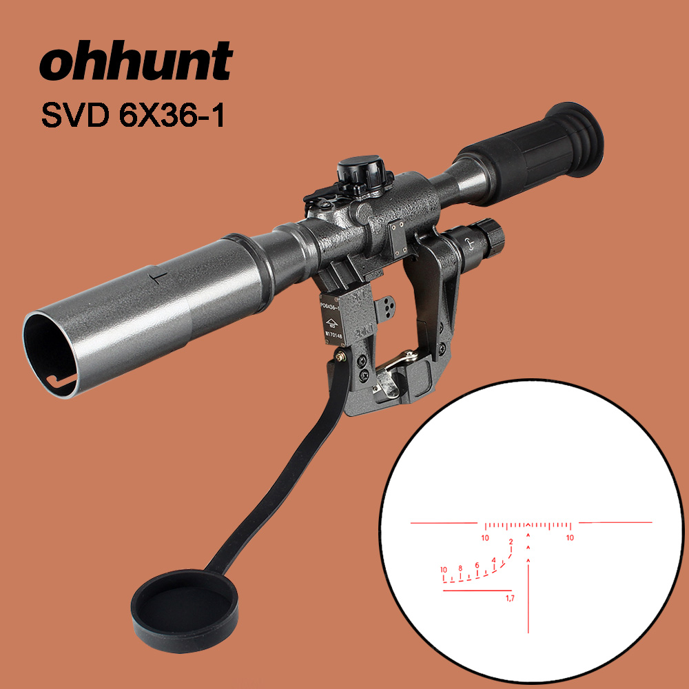 GUN N HUNTING Outdoor Tactical POS 6X36 1 Red Illuminated SVD AK Rifle Scope