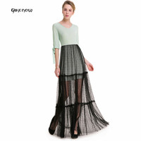 Genuine Qikenow 2018 LYQ 080 Spring Summer Lace Dress Gauze Folds Perspective Sexy Dress Women Openwork