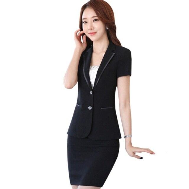 Summer slim women business skirt suit set OL fashion formal work wear career blazer with skirt office ladies plus size suits Комедон