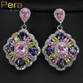 European Style Big Square Drop Multi Color Cubic Zircon Crystal Earrings Jewelry For Women High Quality White Gold Plated E169