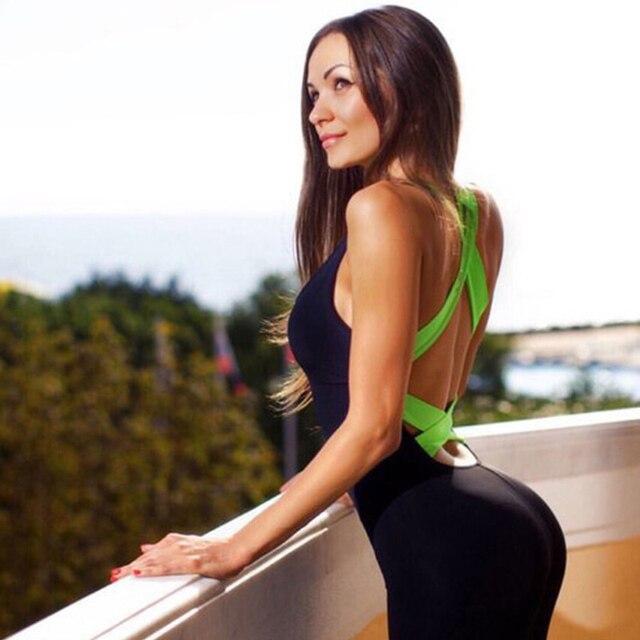 Survêtement Pour Femmes Sportwear Courir Yoga Fitness Bodybuilding  Salopette Vêtements Ensemble Barboteuses Sexy Dos Nu D 3b14d13dfc8