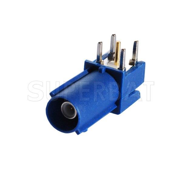 bilder für Superbat 10 stücke Freies Verschiffen RF Fakra Stecker Stecker leiterplattenmontage rechtwinklig Blau für GPS telematik