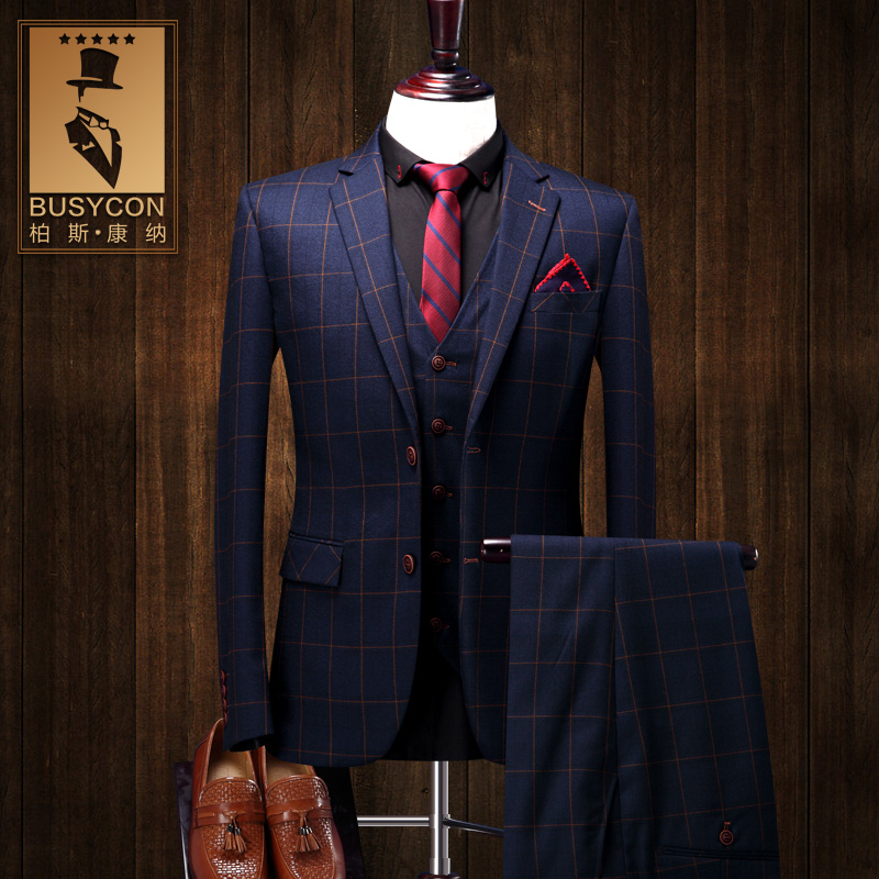 Navy Blue Mens Plaid Suits Wedding Groom Latest Coat Pant Designs Slim Fit Custume Tuxedo 3 Piece Dinner Jacket Vest And Pants In From Men S Clothing
