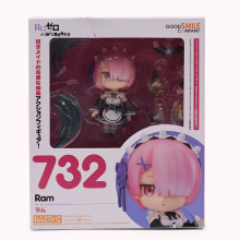 лучшая цена Q Ver Anime Re : Life In A Different World From Zero Nendoroid Ram NO 732 PVC Action Figure Doll Collectible Model Toy