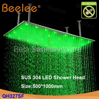 Beelee Contemporary 20*40 inch Big Rain 304 Stainless Steel Shower Head with Color Changing LED Light