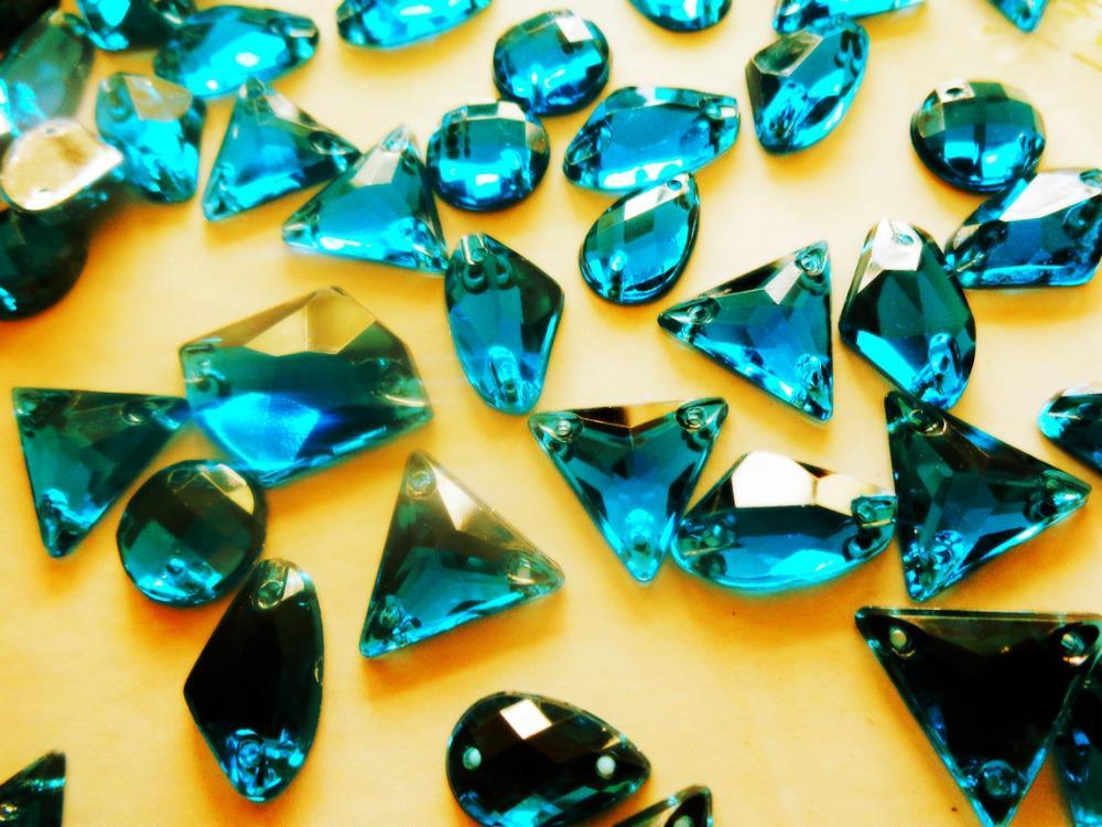 300pcs mixed shape size Green blue gem stones crystal sew on ...