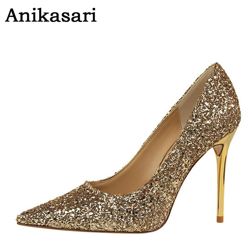 High Heels Shiny Sequined Wedding Shoes Woman Glittering Sexy Party High Heel Bridal Shoes Women Pumps Gold White Tacones Mujer summer platform wedges party shoes for woman extreme high heels sexy wedding shoes woman comfort female shoes heel