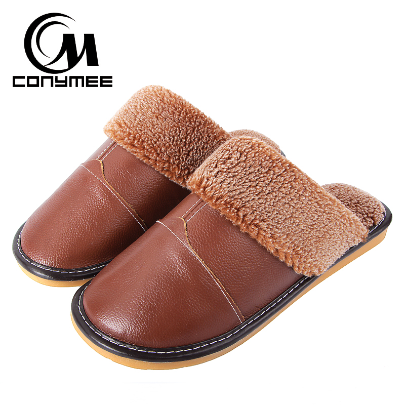 CONYMEE 2018 Winter Slippers Men Genuine Leather Indoor Floor Shoes Sneakers For Home Mens Plush Warm Pantufas Casual Slipper цена