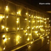 საშობაო გარე გაფორმება 3.5 მ Droop 0.3-0.5 მ ფარდის icicle სიმებიანი LED განათება 220V საახალწლო ბაღი Xmas Wedding Party Light