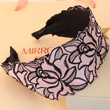 1 Pcs/lot Korean Rose Embroidery Lace Wide Cloth Art Flower Hair Hoop Head Band Hairbands Hair Bands for Women